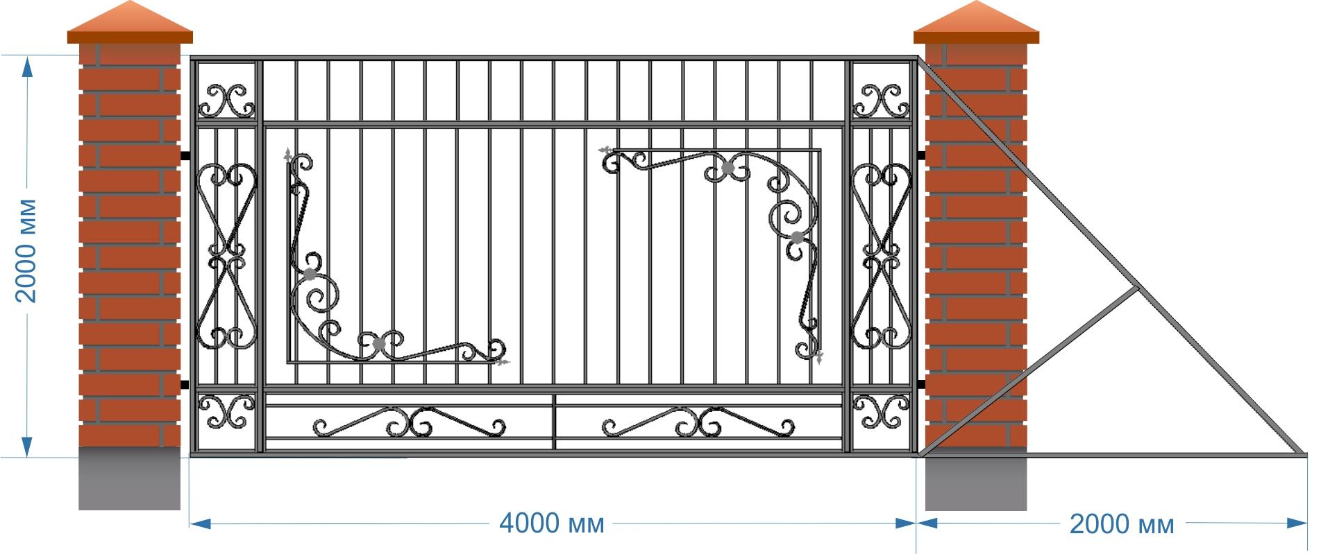 Установка кованных ворот своими руками 25